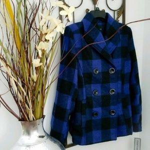 NEW Rampage Black & Blue Buffalo Plaid Coat Small